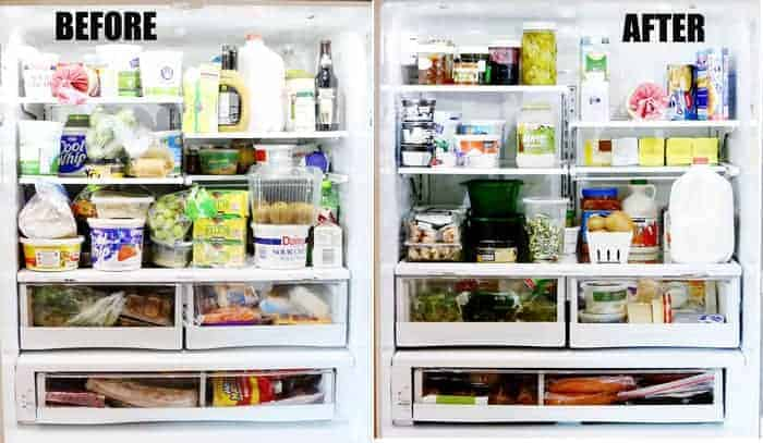The AFTER pic! Fridge is clean and better organized!
