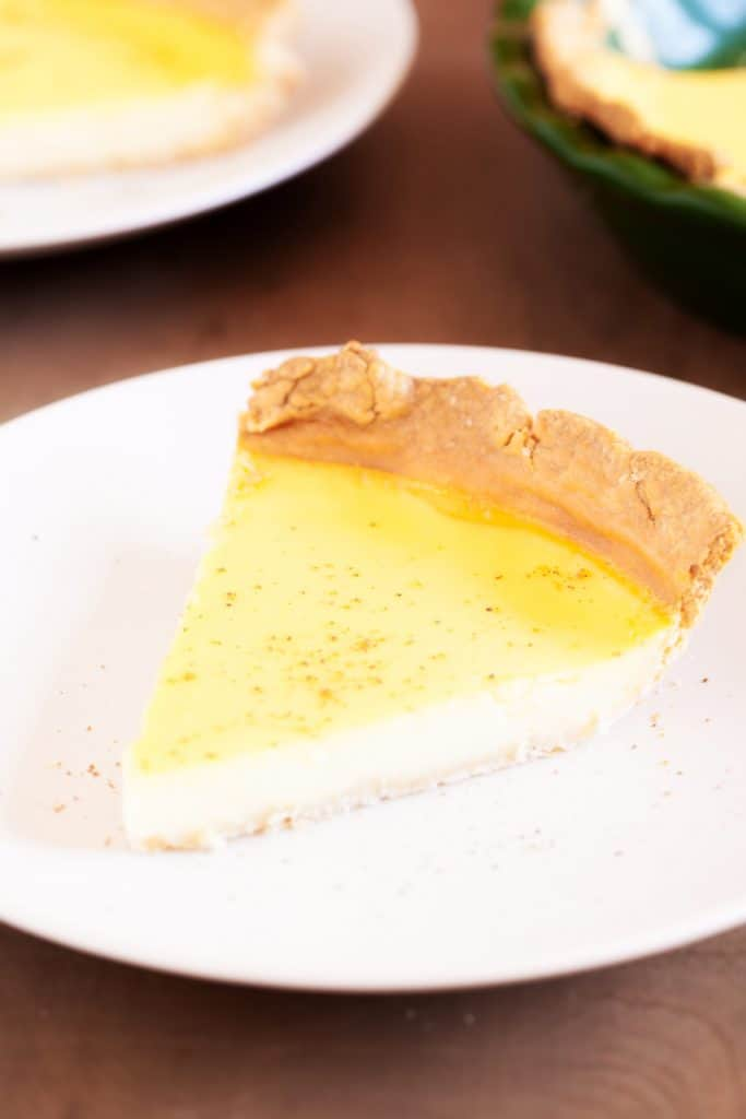A perfectly light slice of Amish Custard Pie!