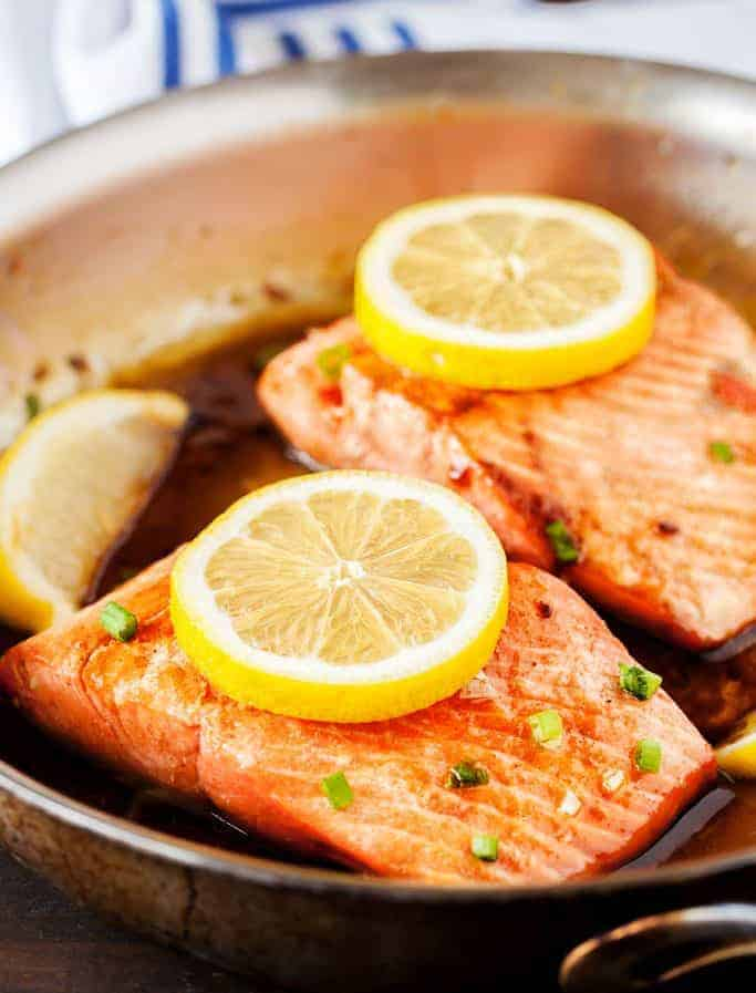 Browned Butter Salmon is ready in 15 minutes flat! #salmon #brownedbutter #dinnerrecipes #homesteadrecipes #iamhomesteader