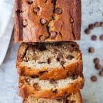 Moist and delicious banana bread loaded with chocolate chips