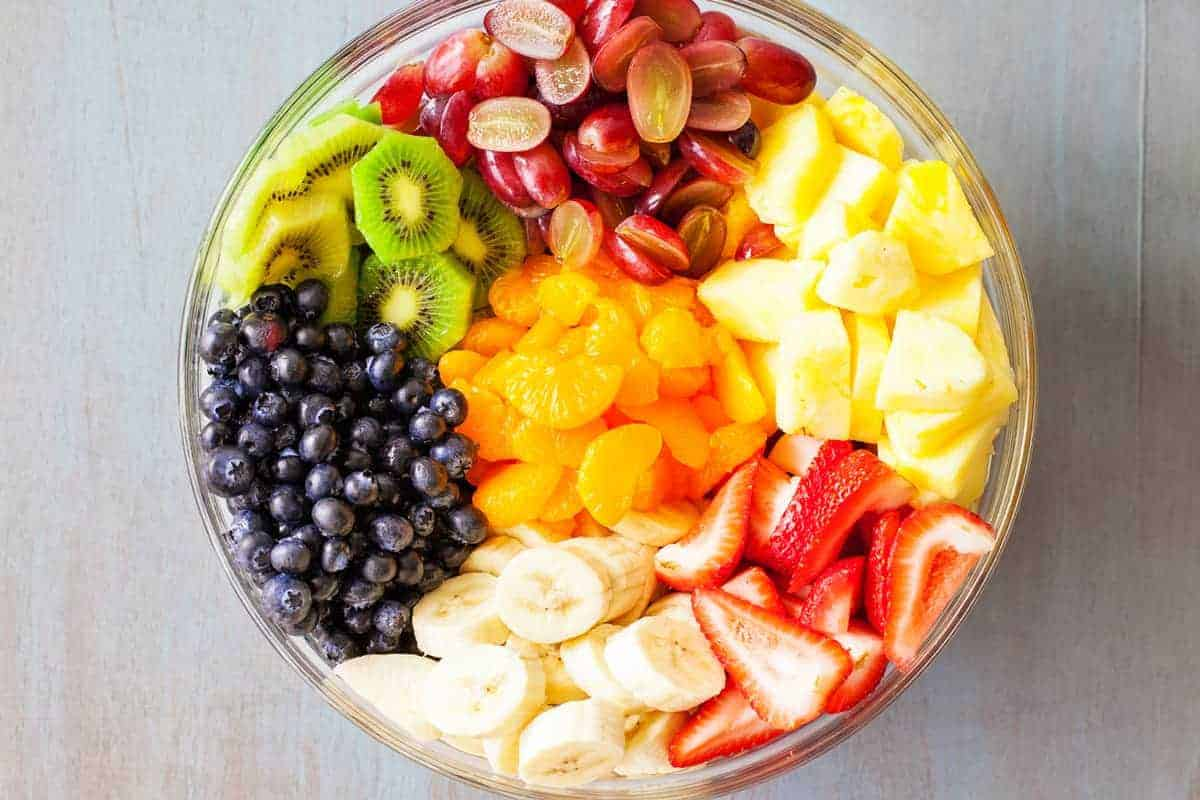 19b90d572a1ad Rainbow Fruit Salad with Honey Lime Dressing from iamhomesteader.com