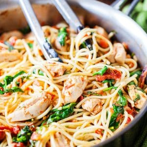 Tomato Spinach Chicken Spaghetti from iamhomesteader.com