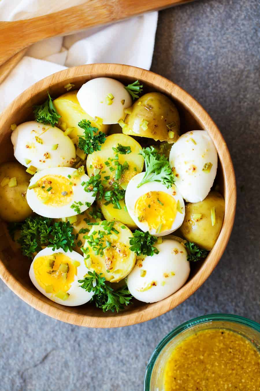 Hipster Potato Salad From Overhead in a Wooden Bowl