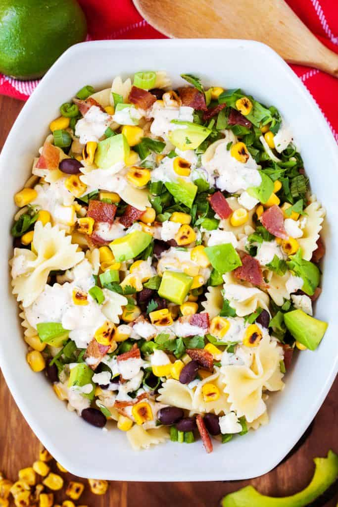 Pasta Salad covered in dressing