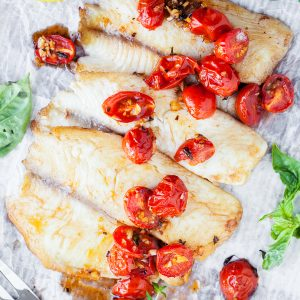 Walleye with Balsamic Roasted Cherry Tomatoes