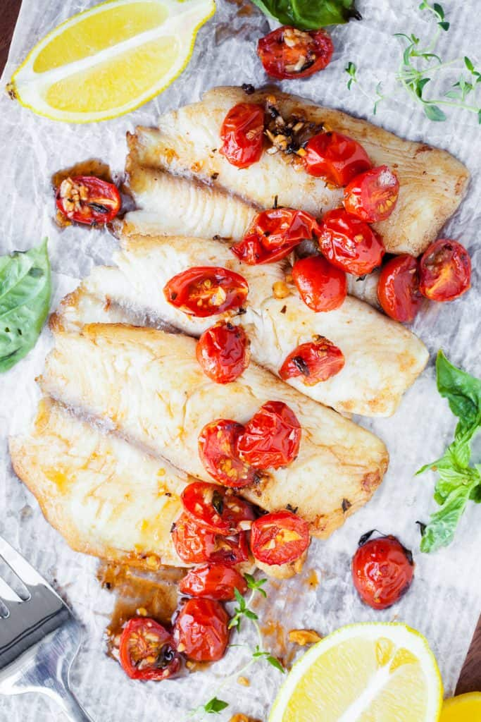 walleye with roasted cherry tomatoes shot from overhead