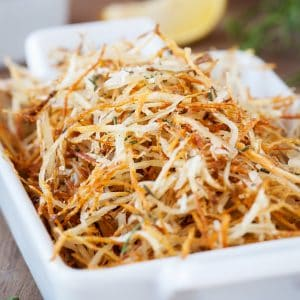 Baked Parmesan Rosemary Shoestring Fries