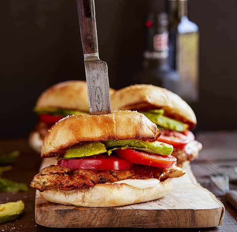 Chicken Caprese Sandwich with Knife in It