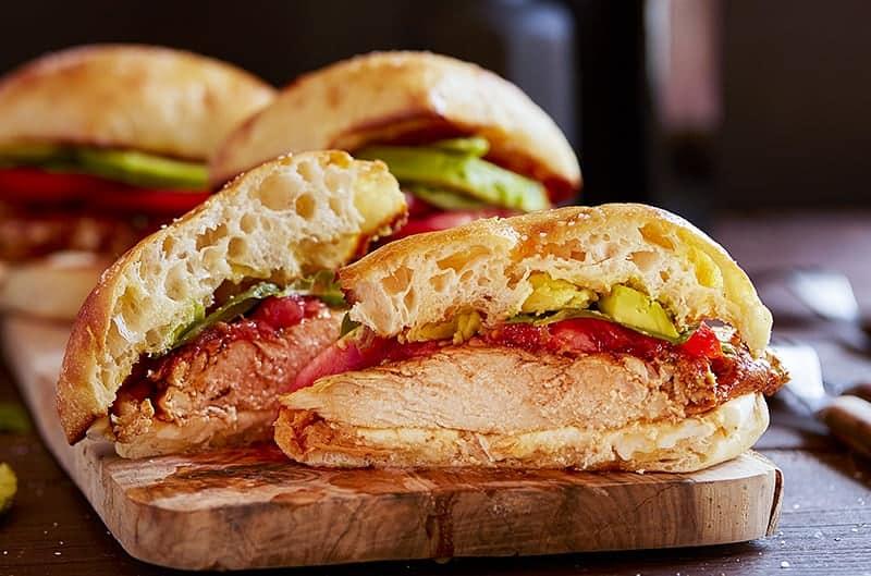 Sliced Chicken Caprese Sandwich