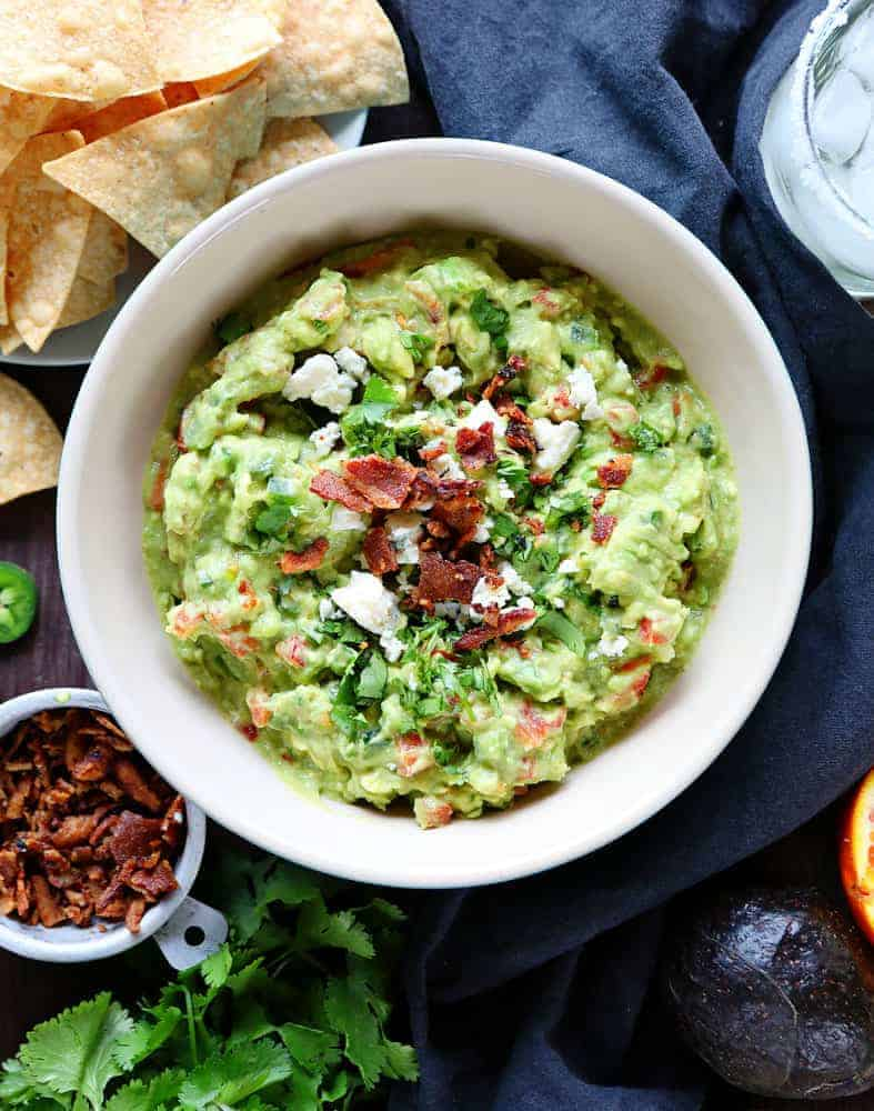 Creamy Guacamole with Bacon and Blue Cheese