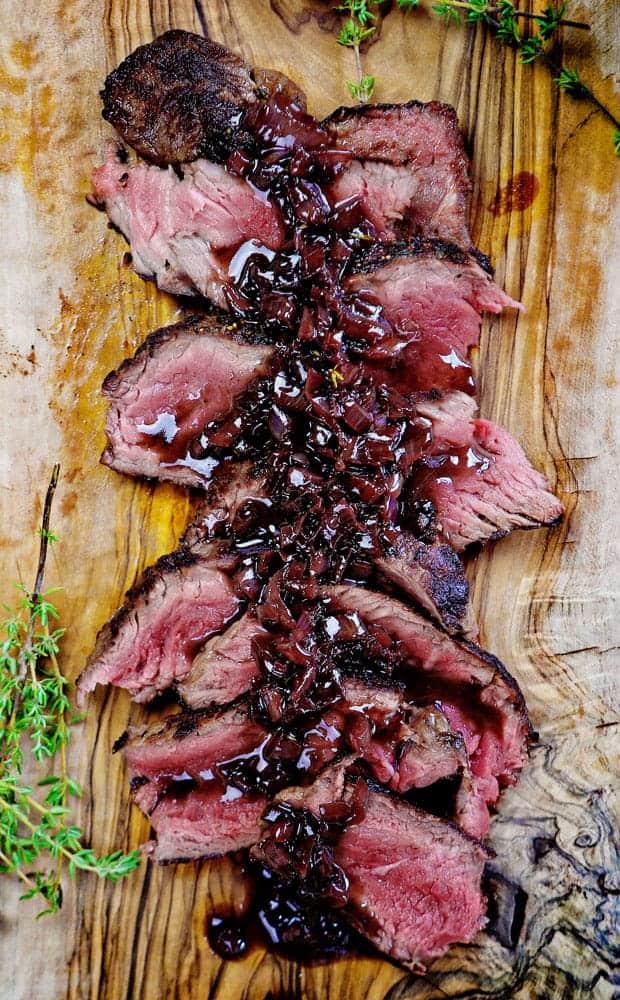 Medium Rare Steak with Red Wine Reduction