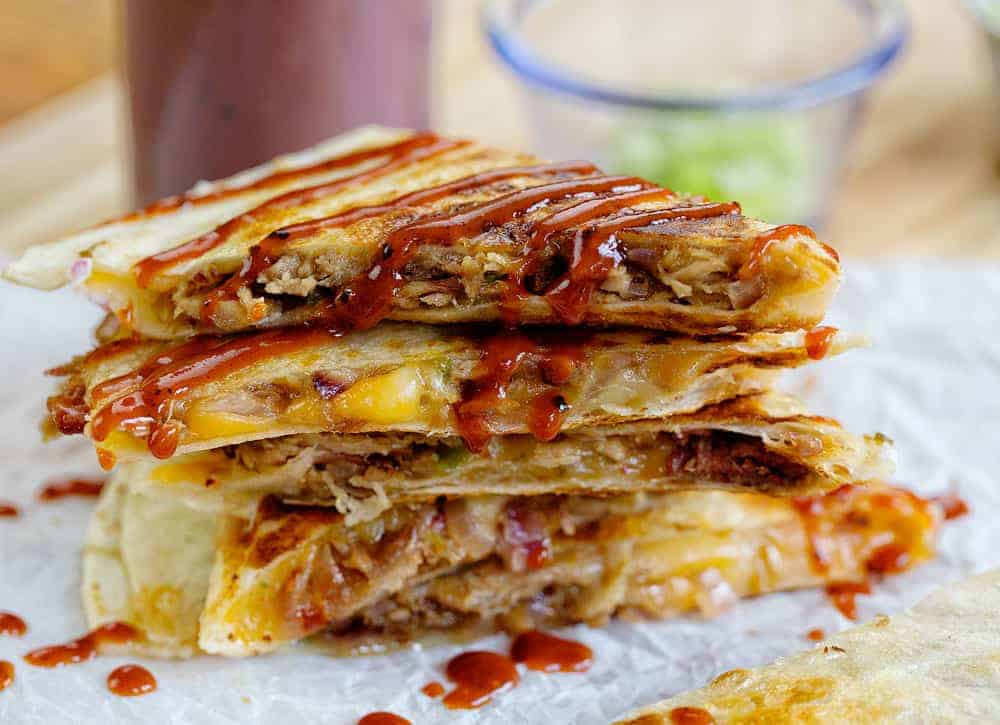 Pulled Pork Quesdillas with BBQ sauce