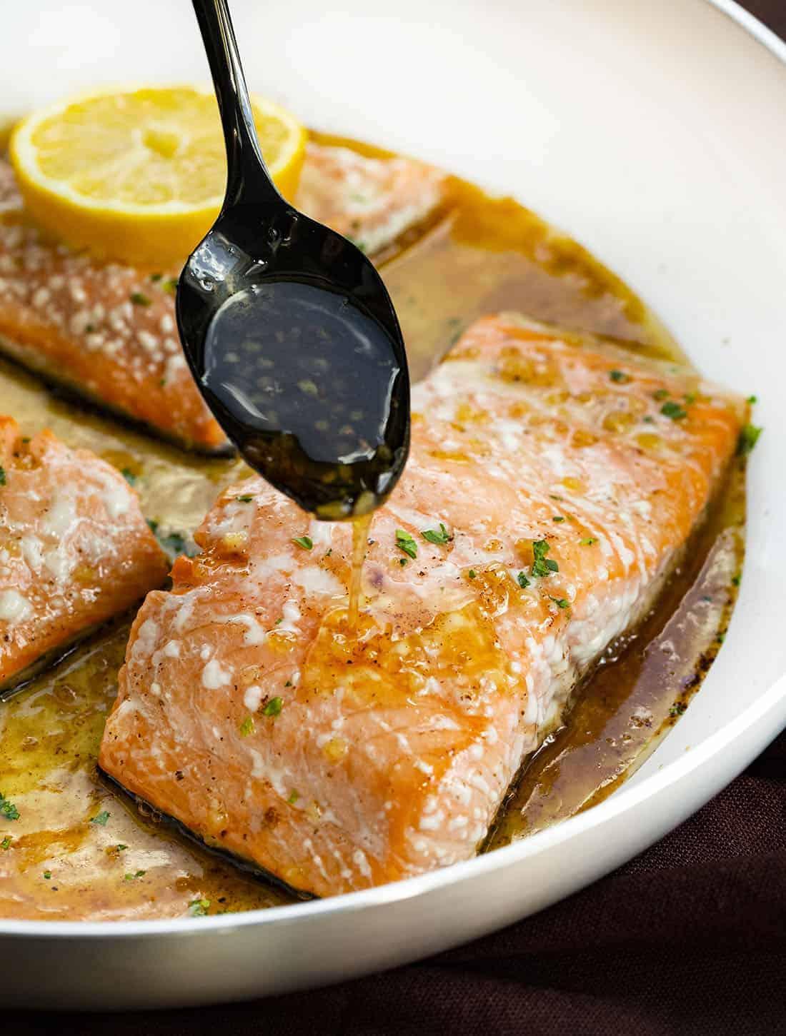 Brown Butter Honey Glazed Salmon in Skillet