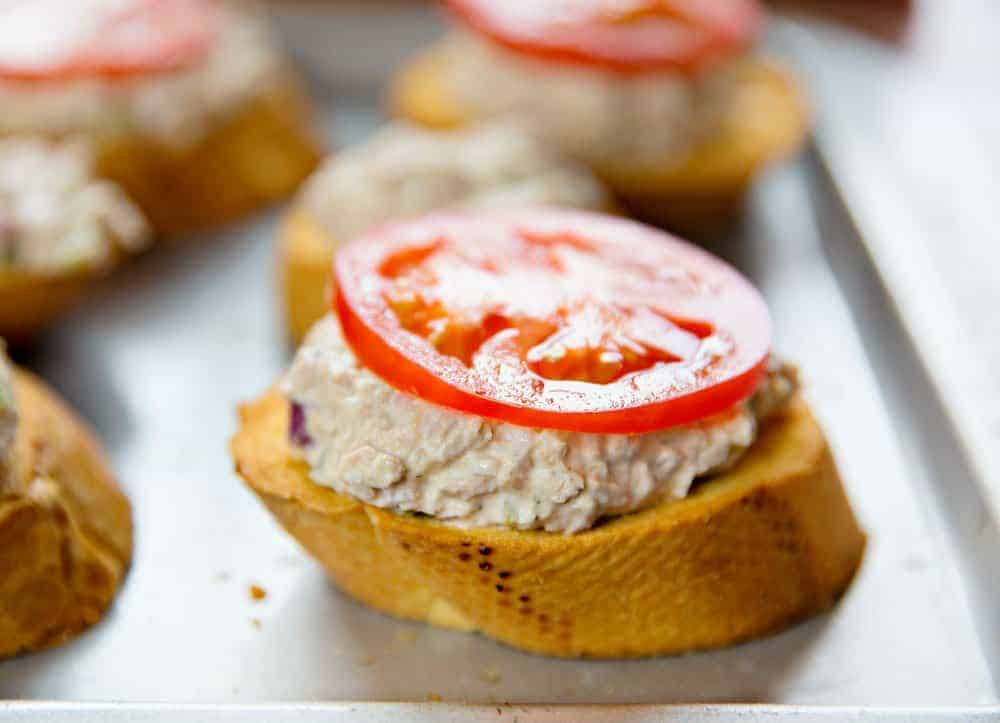 Fresh Slice of Tomato on Tuna Melt Sandwich