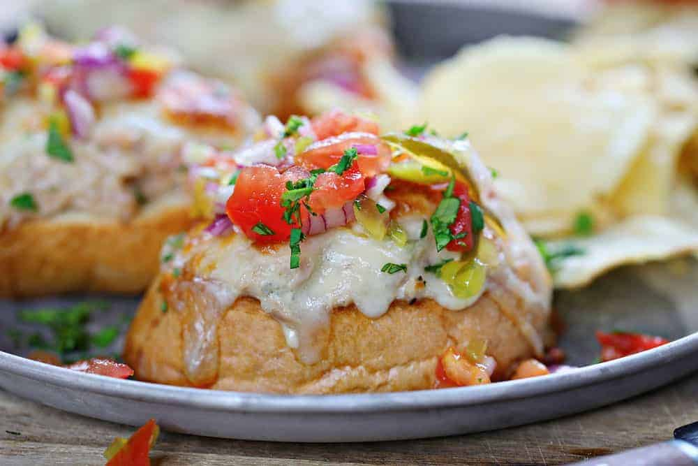 Open Faced Tuna Melt with Fresh Tomato Relish