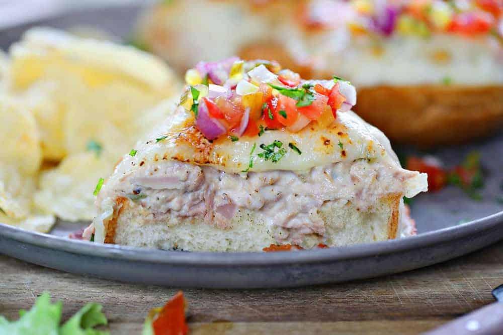 Open Faced Tuna Melt Recipe with Fresh Tomato Relish