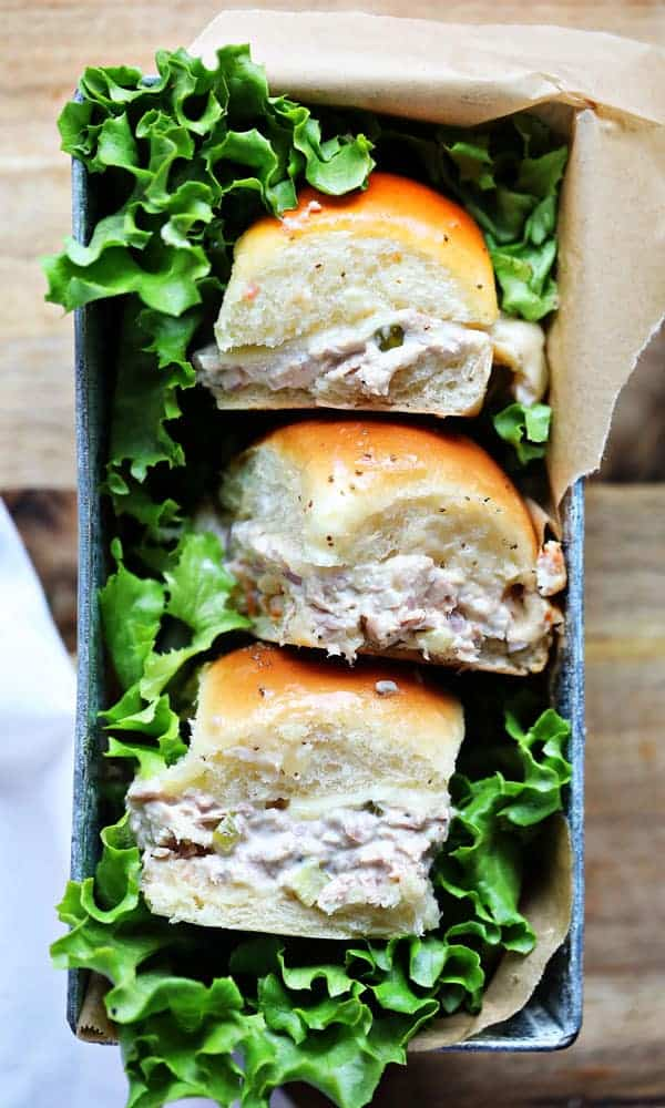 Tuna Sliders with Melted Havarti Cheese