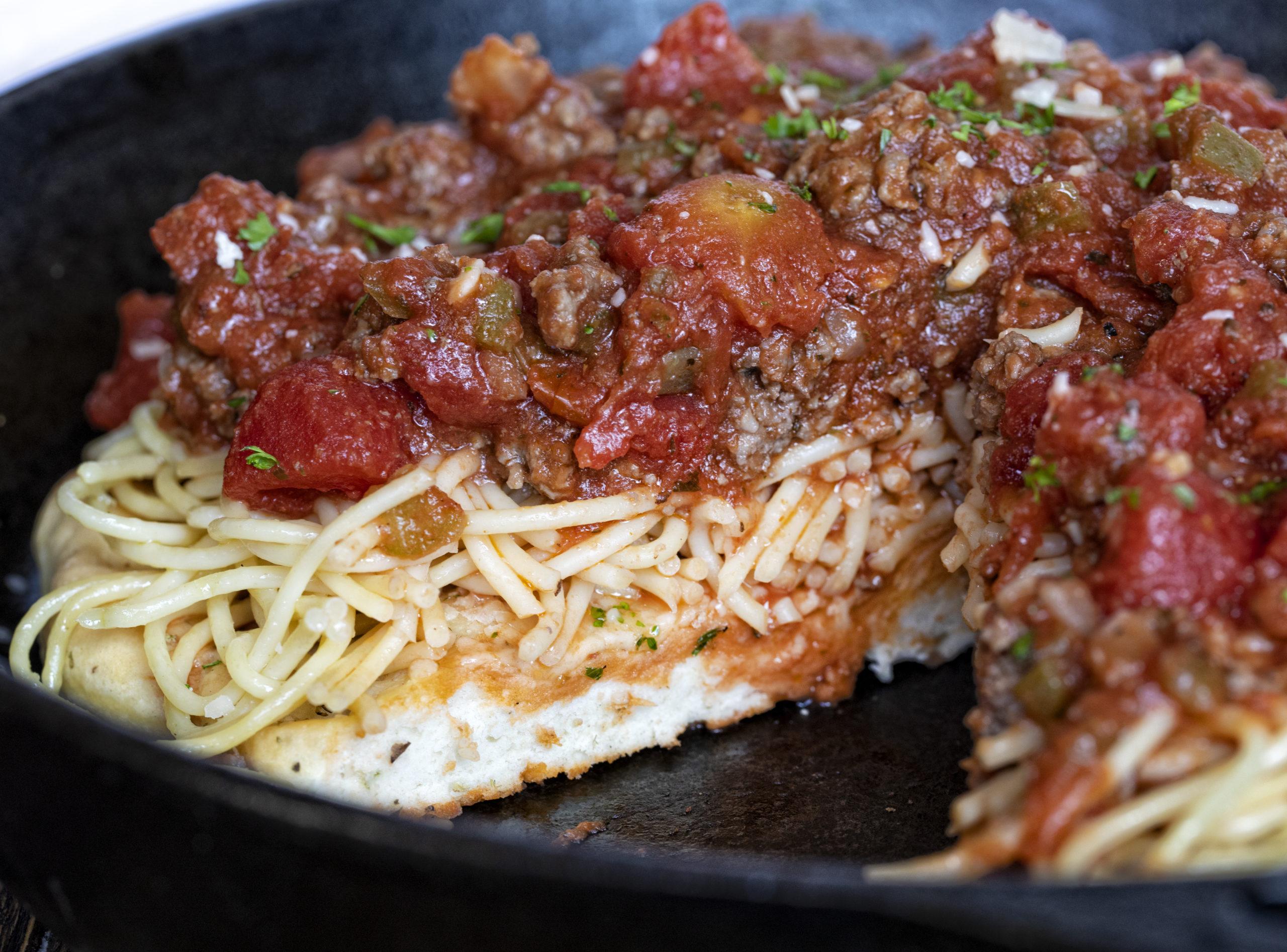 Spaghetti on Focaccia Bread