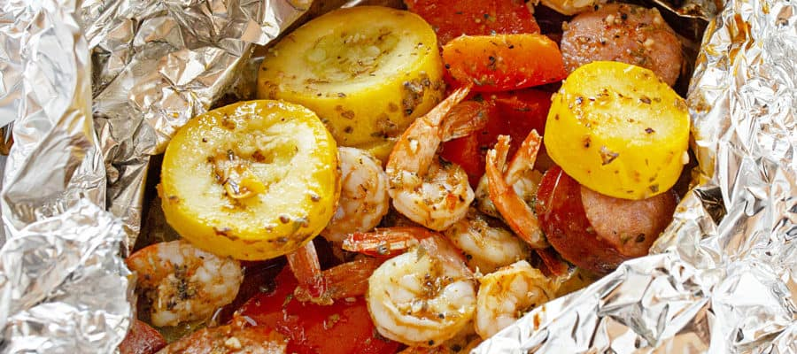 Garlic Shrimp and Sausage Foil Packs
