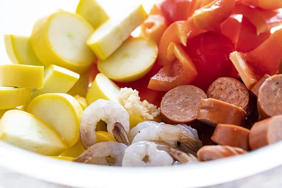 Ingredients for Garlic Shrimp and Sausage Foil Pack