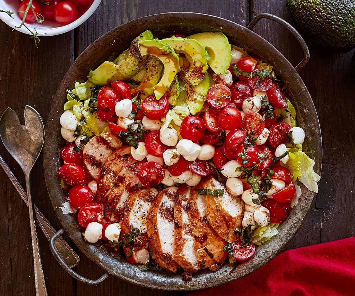 Chicken Caprese Salad in Bowl