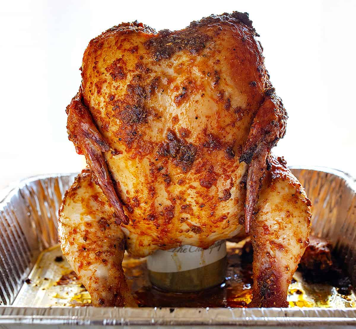 Straight on View of Beer Can Chicken