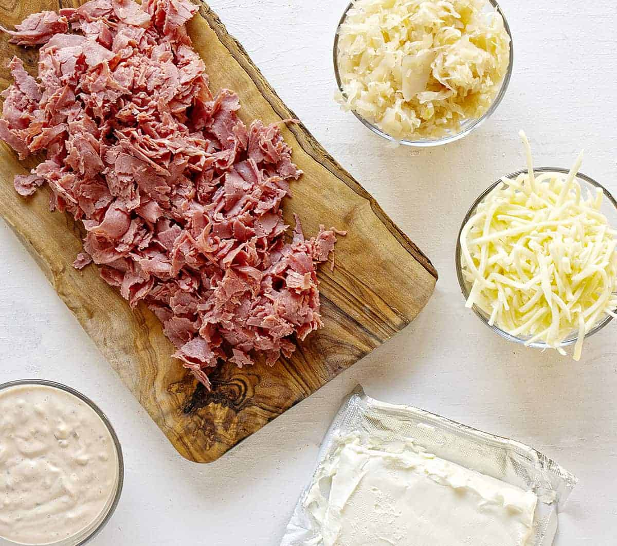 Ingredients for Reuben Dip