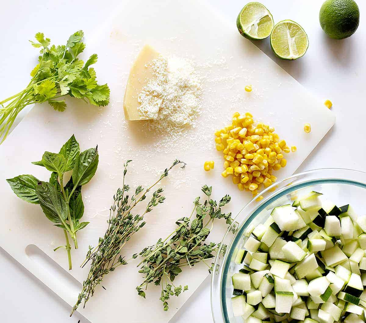 Ingredients for Parmesan Zucchini Corn