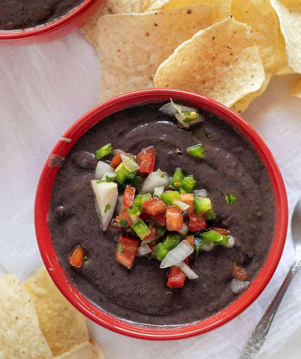 Overhead Image of a Bowl of Black Bean Soup