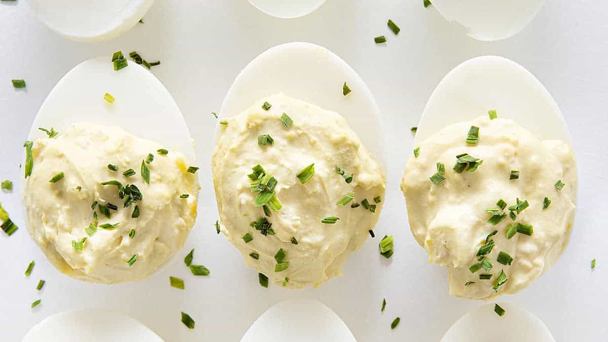 Row of French Onion Deviled Eggs