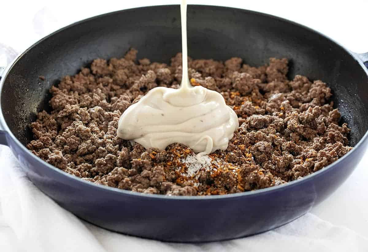 Ground Beef and Sauce for Easy Hamburger Stroganoff