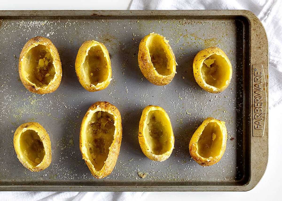 Hollowed out baked potatoes for Twice Baked Potatoes