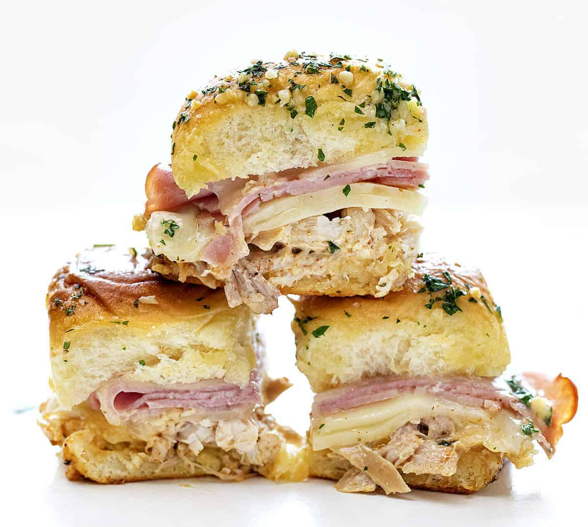 Stacked chicken cordon bleu sliders