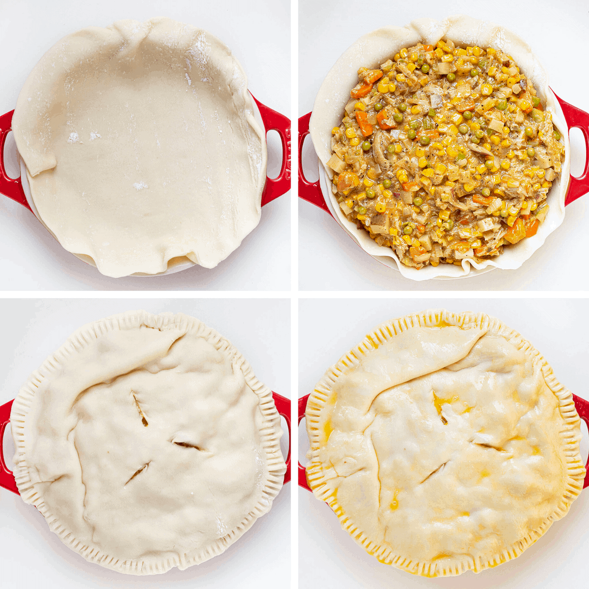 Steps on how to make a chicken pot pie
