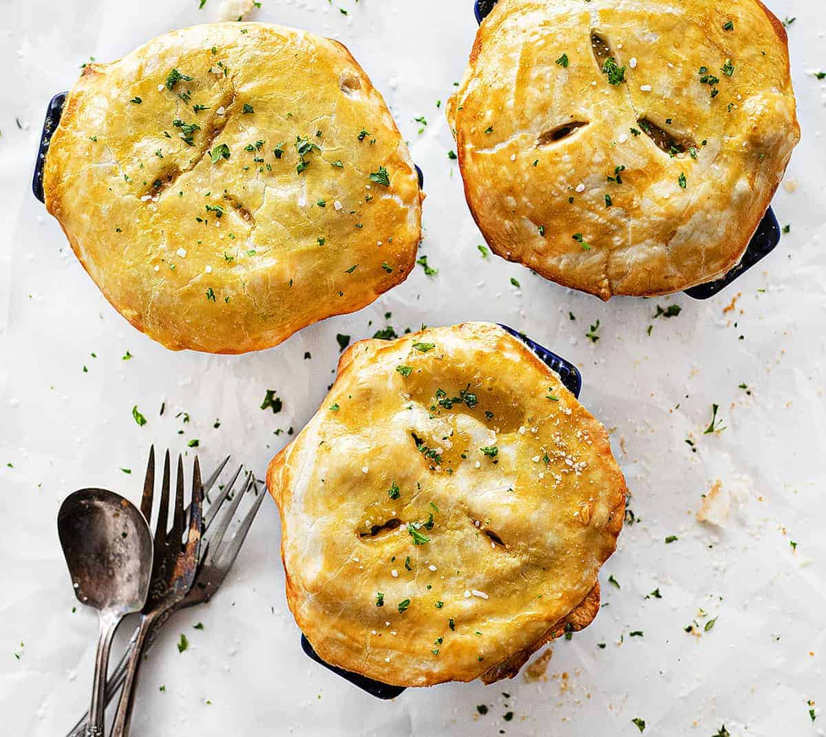 Overhead view of Individual Chicken Pot Pies in Mini Pots