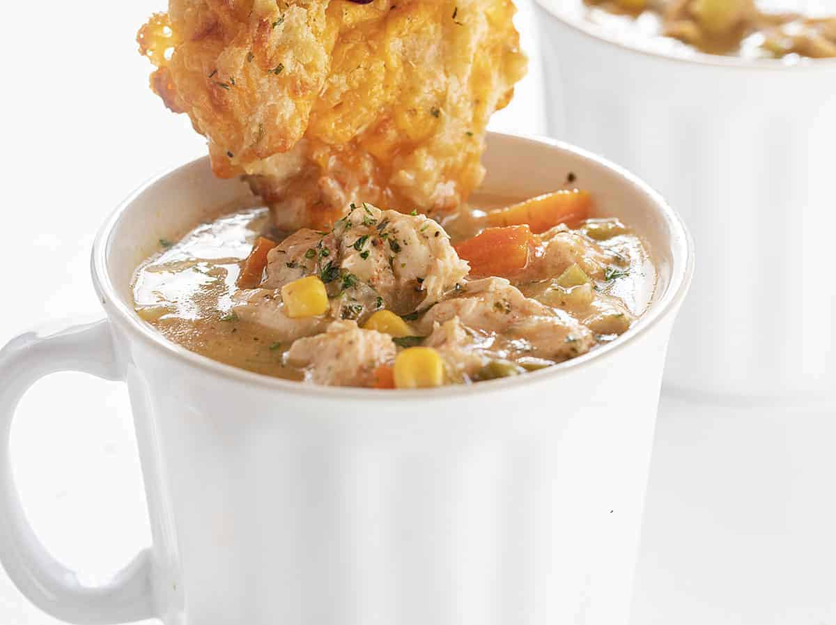 Biscuit Dipped in Instapot Chicken Pot Pie Soup