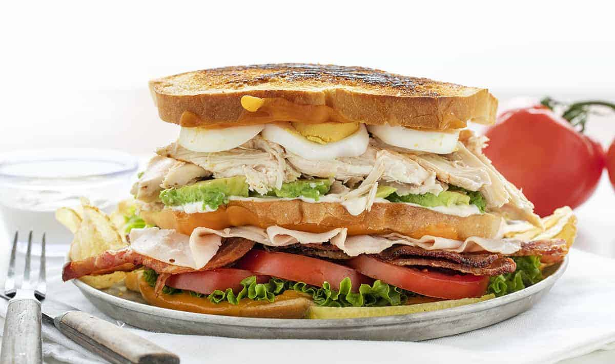 Cobb Salad Sandwich on a Plate