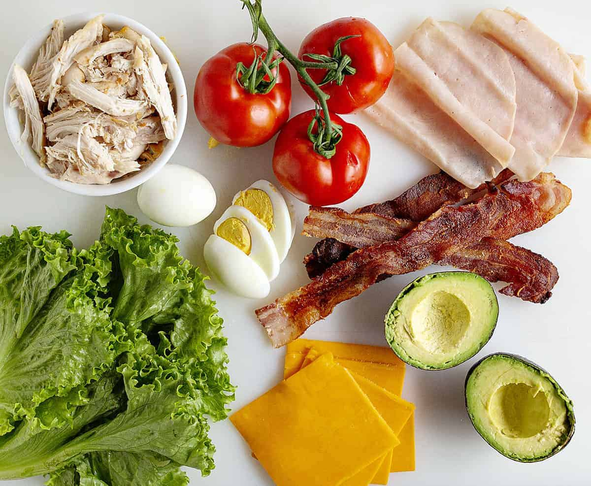 Ingredients for Cobb Salad Sandwich