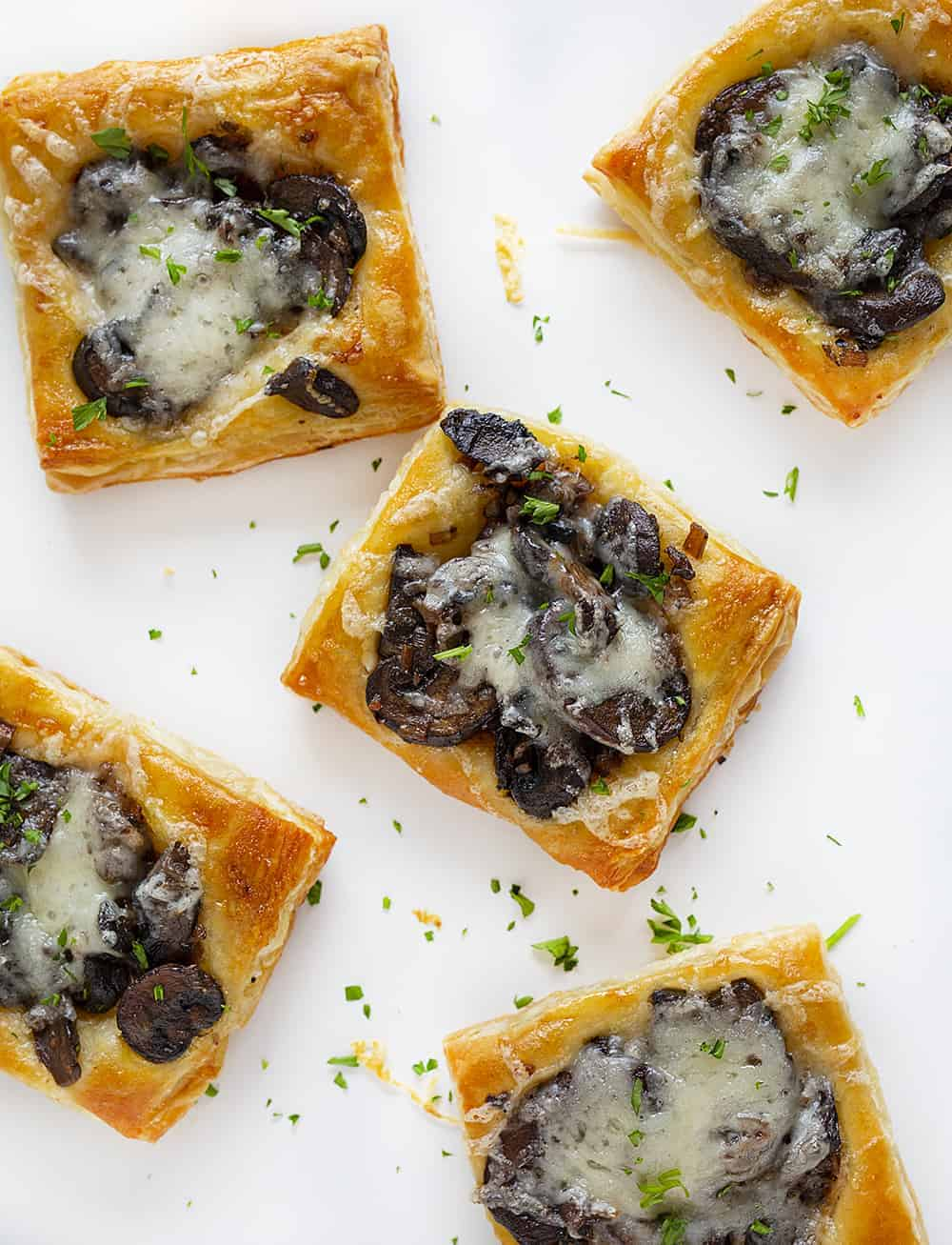 Overhead view of Cheesy Mushroom Pastries