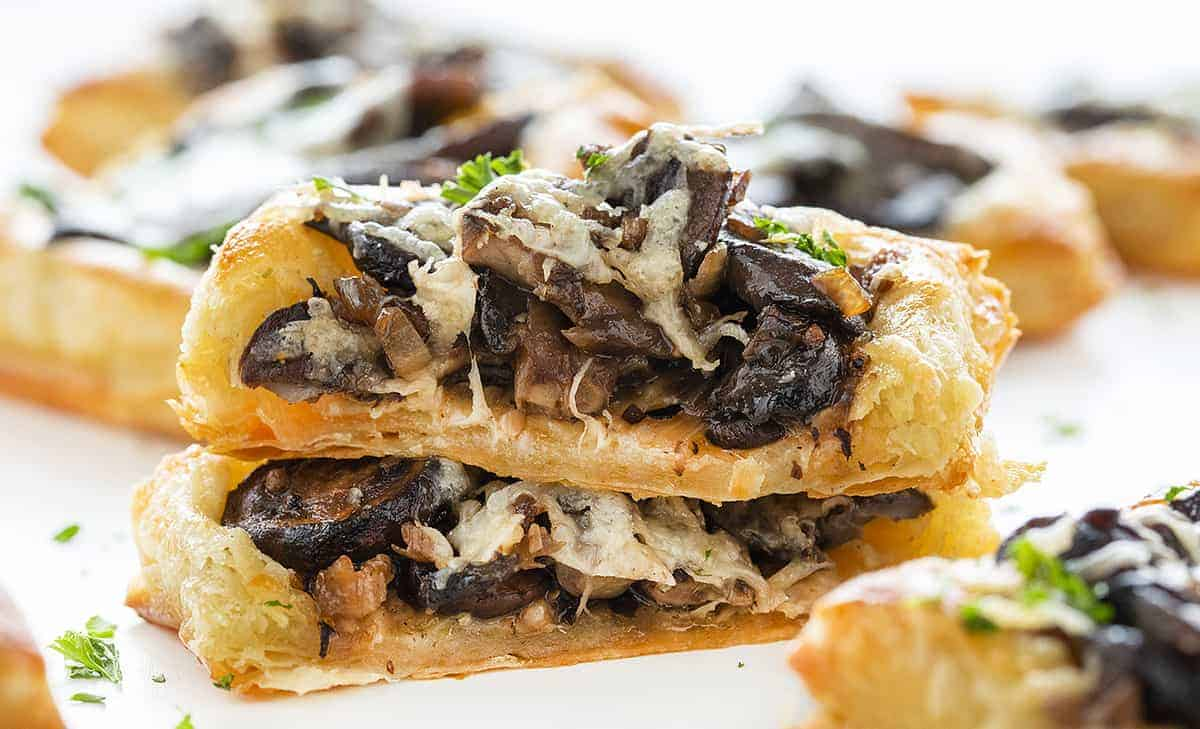 Cut into Cheesy Mushroom Pastries