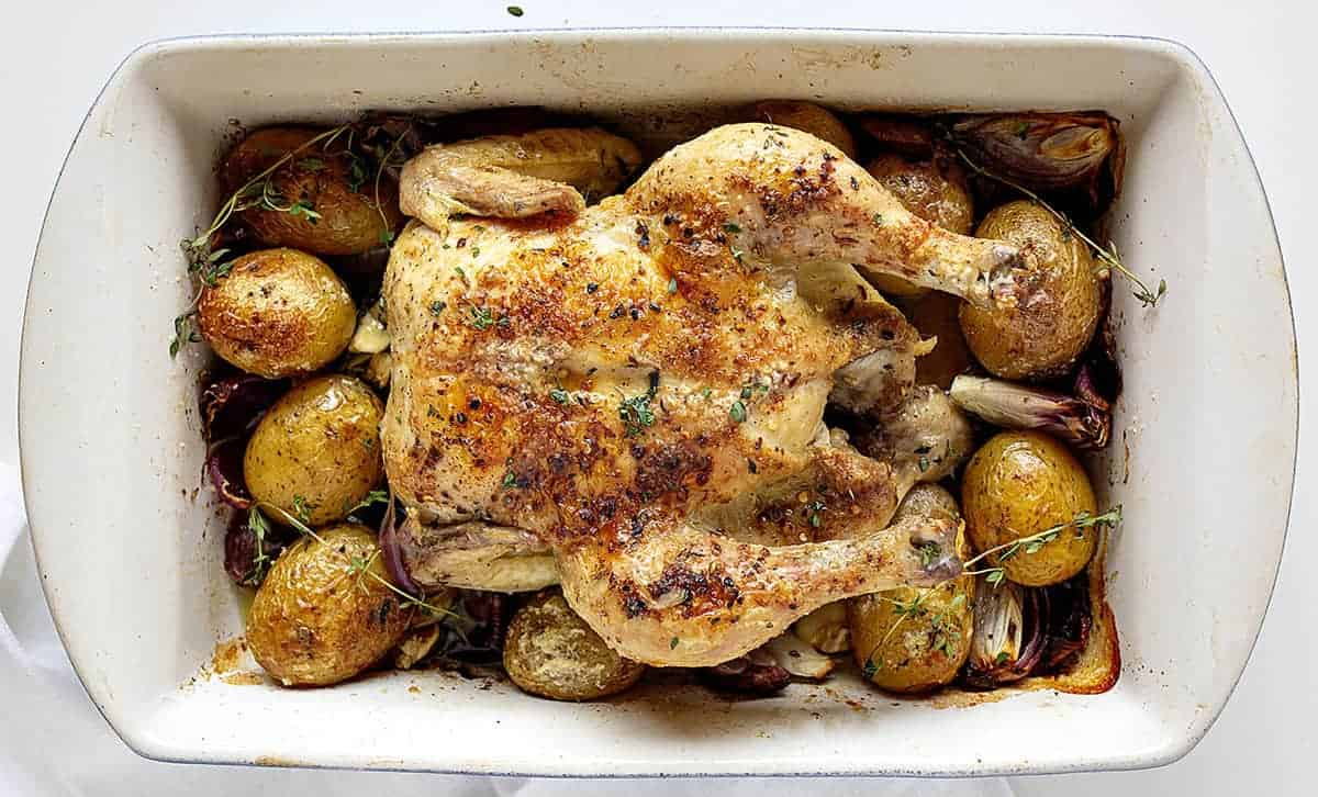 Overhead View of Roasted Chicken with Potatoes