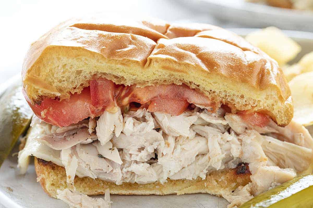 Cut into Rotisserie Chicken Sandwich