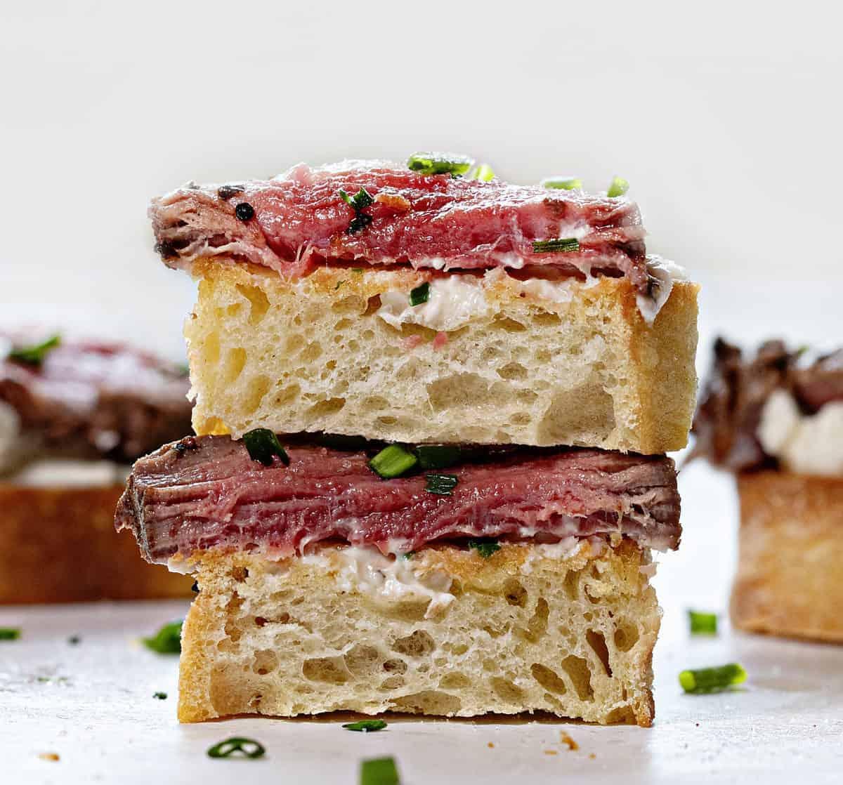 Cut in Half portion of Beef Tenderloin Baguette