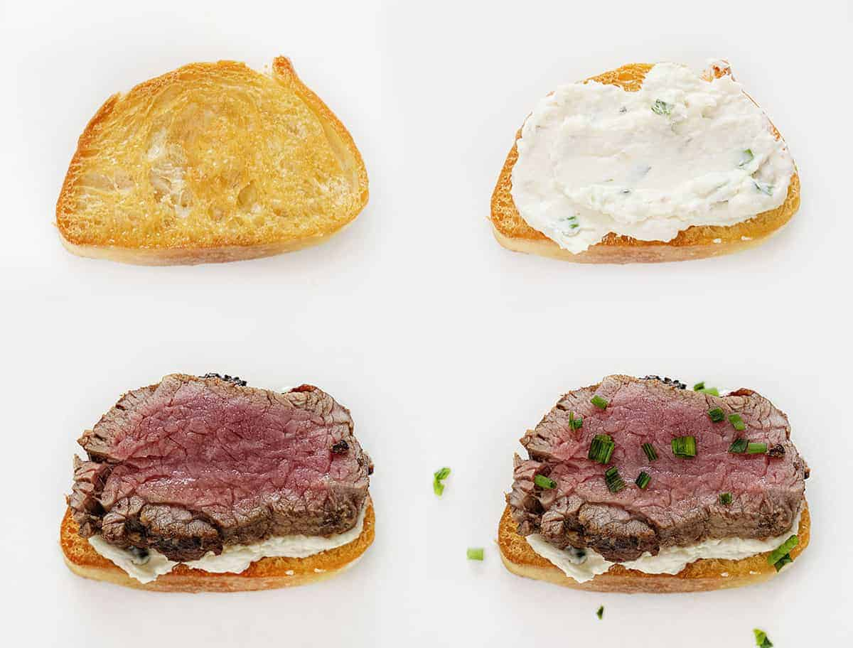 Collage of adding individual ingredients to Beef Tenderloin Baguette