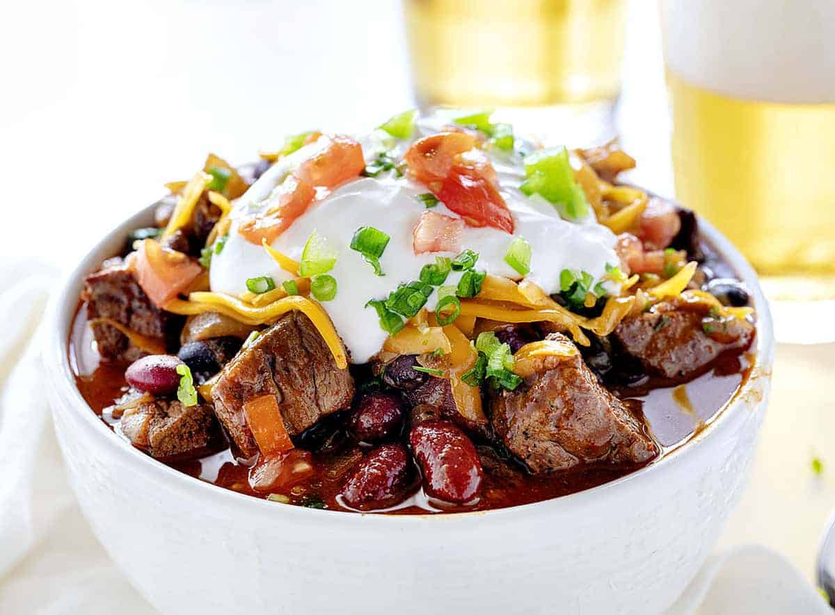 Bowl of Spicy Steak Chili