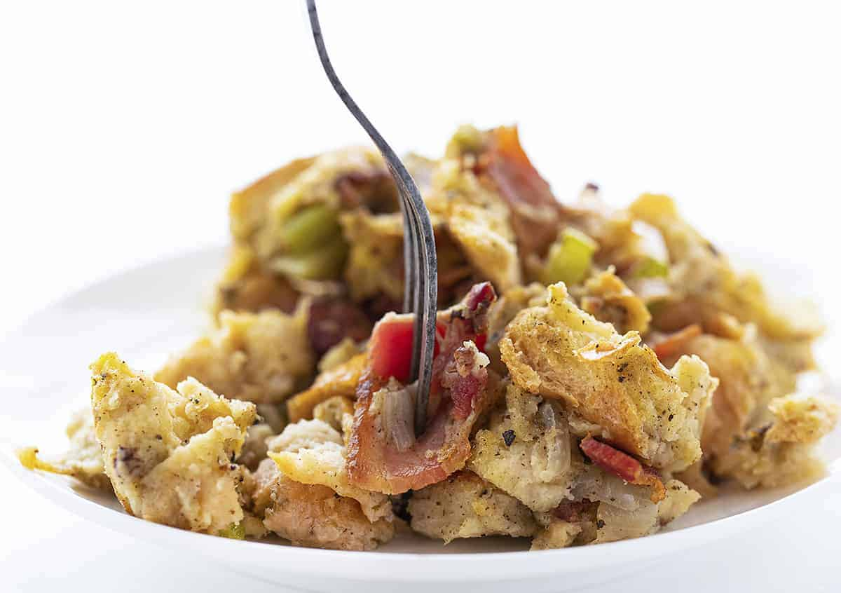 Plate of Turkey Bacon Stuffing