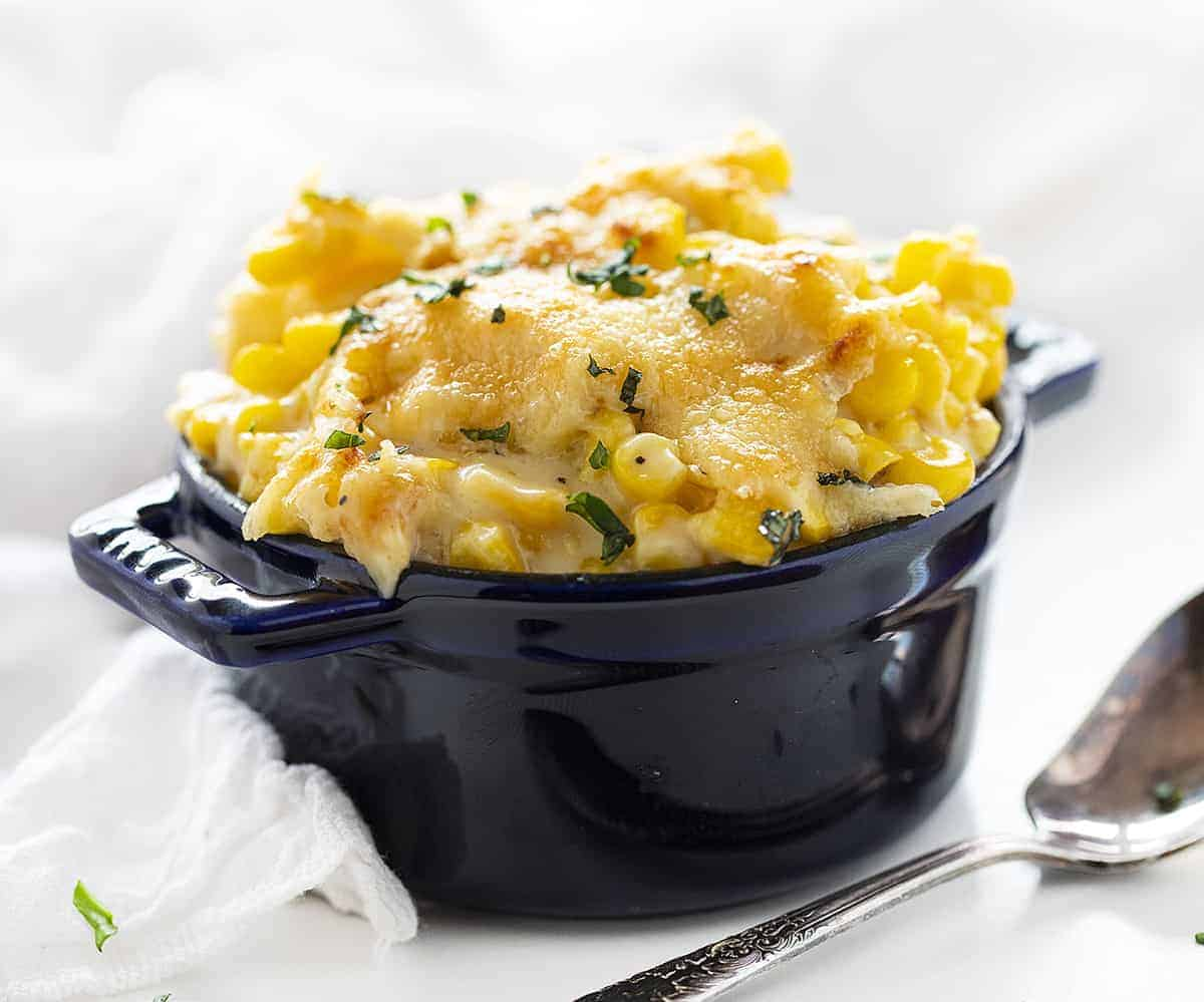 Individual Portion of The Best Creamed Corn Recipe