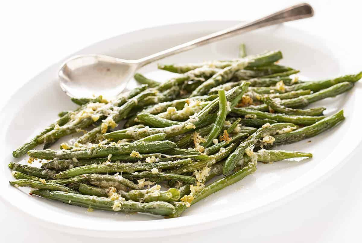 Plate of Roasted Parmesan Green Beans