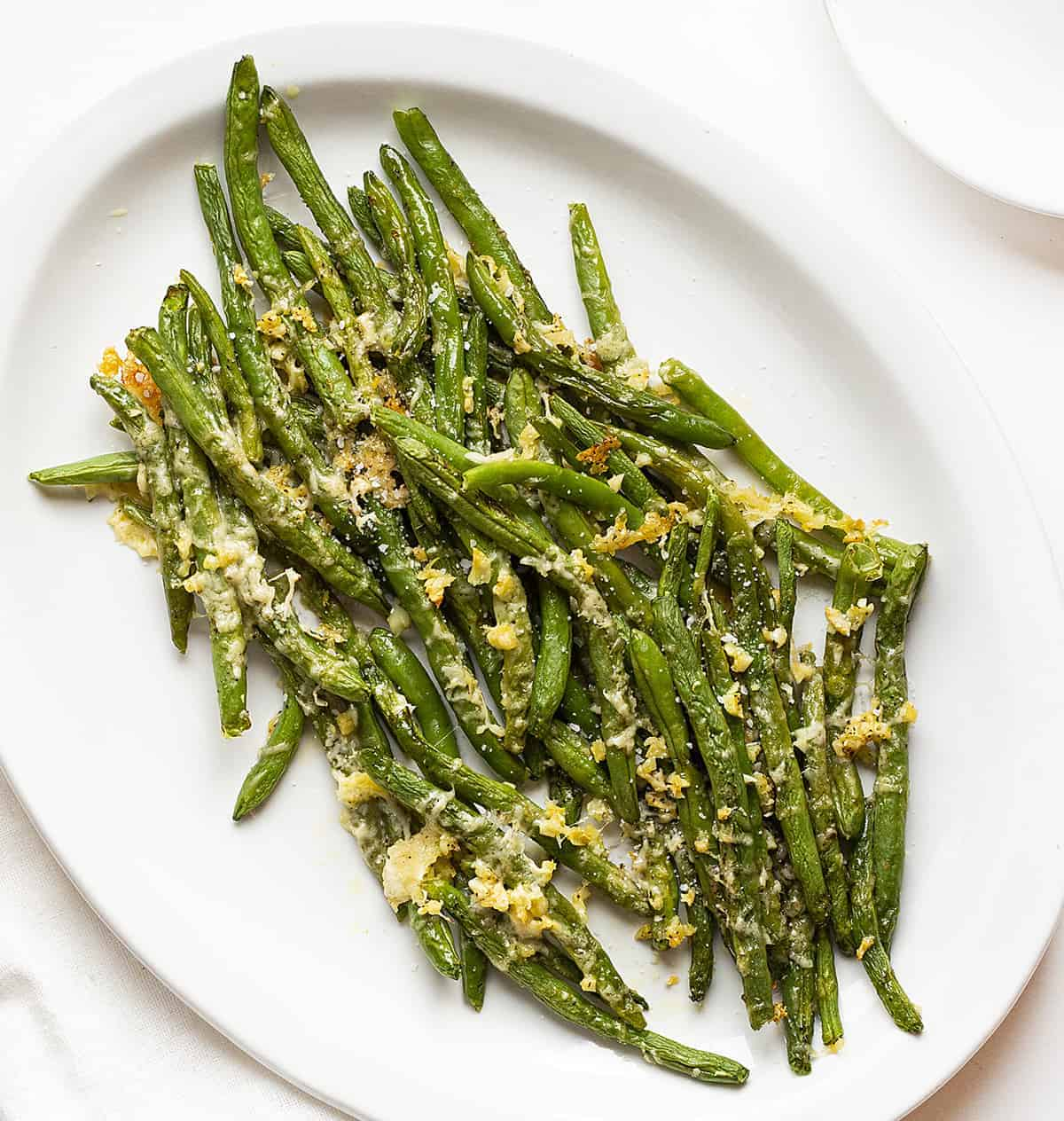Roasted Green Beans overhead on white plate