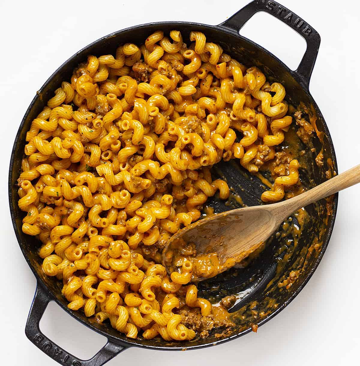 Overhead Skillet of Hamburger Macaroni